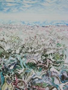 """Blue Rookery"", 30 x 22, acrylic on canvas"