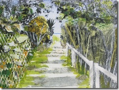 """Beach Path II"" ©2010 Maro Lorimer 10½ x 13½ inches, collage"
