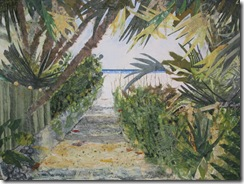 """Beach Path VI"" ©2010 Maro Lorimer 10½ x 13½ inches, collage"