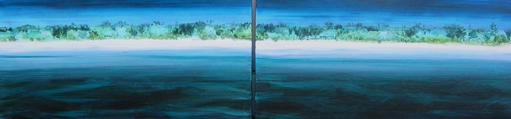 """Coastline 8: Anna Maria Island"" diptych, 12 x 48, acrylic on canvas"