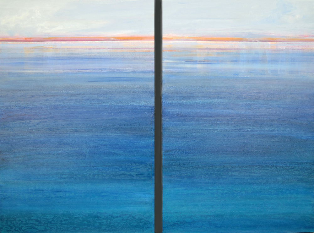 """Six O'clock Seascape,"" 36x48, acrylic diptych on canvas"