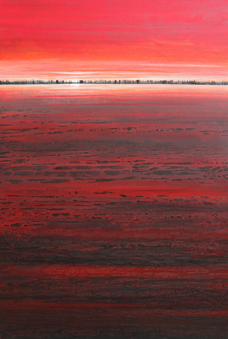 """Nocturne 5 (Red Sky),"" 36x24, acrylic on canvas"