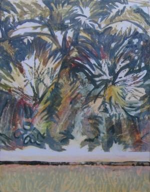 """Tropical Escape 1"" 14x11, acrylic on canvas"