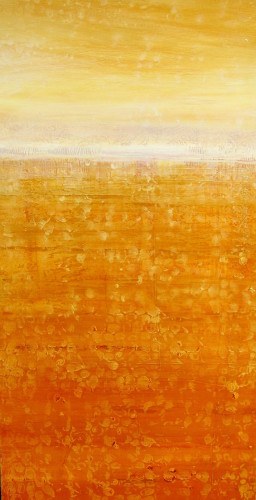"""Variations on a Golden Sea"" 48x24, acrylic on canvas"