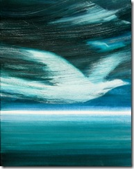 """White Bird"" 20x16 acrylic on canvas, ©2010Maro Lorimer"