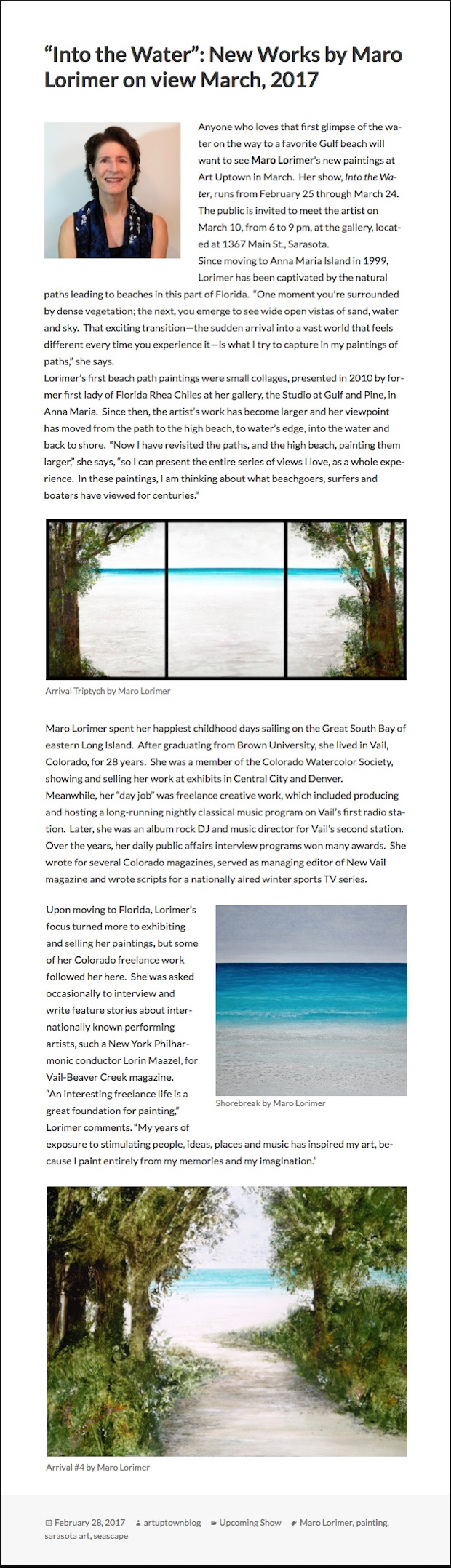 "Art Uptown Gallery Announces Show ""Into The Water"" by Maro Lorimer"