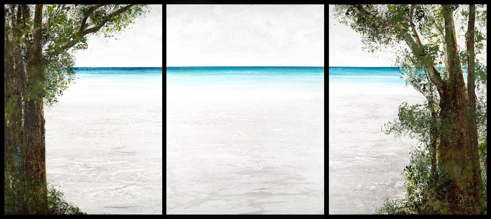 "Maro Lorimer ""Arrival Triptych"" 40x90 acrylic on canvas"