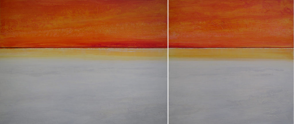 """Space and Time"" diptych 30x70 acrylic on canvas"