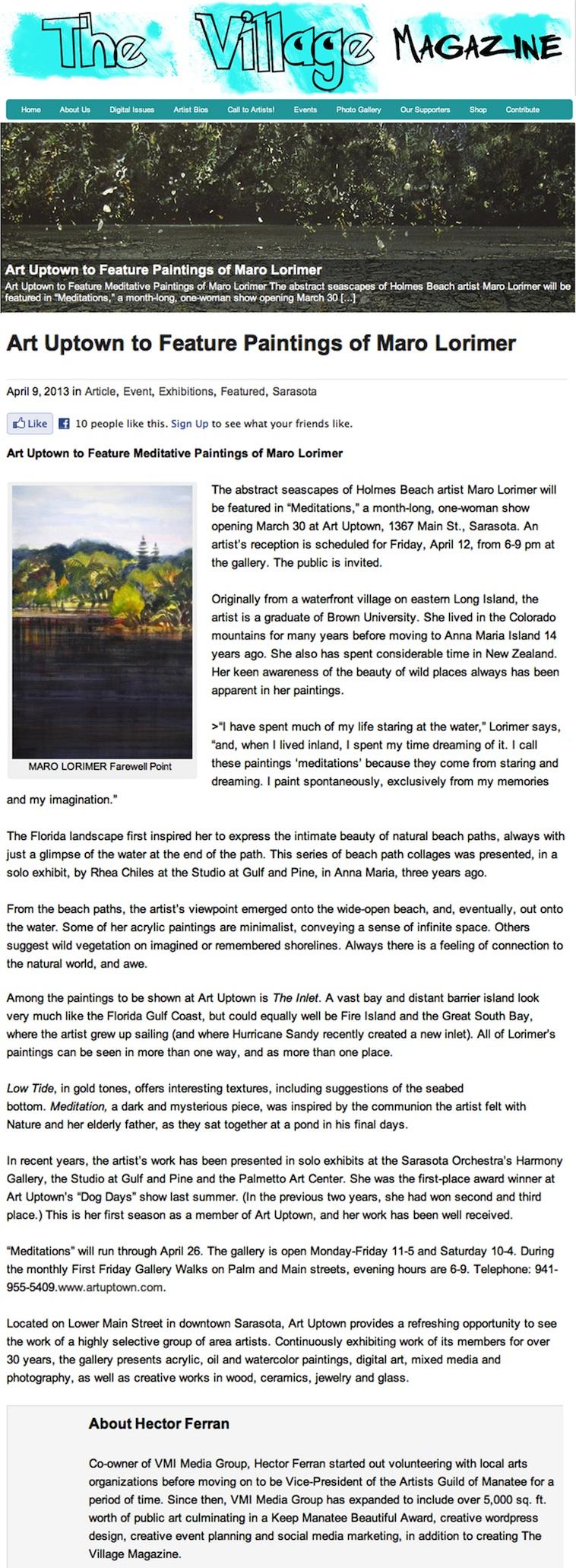 """""""The Village Magazine"""" Art Uptown Show 2013"""