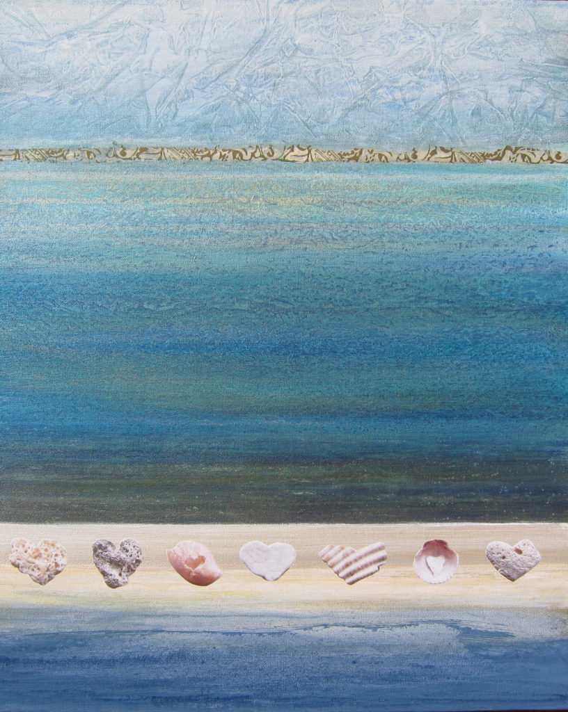 """""""Hearts I Found on the Beach"""" 24x20 photography, collage, acrylic on canvas"""